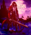1boy bat black_hair castle castlevania castlevania:_lords_of_shadow dracula facial_hair gabriel_belmondo holding holding_sword holding_weapon long_hair luigiix moon moonlight muscle pale_skin pointy_ears red_eyes sword tagme tombstone vampire weapon white_skin