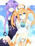 2girls absurdres blue_eyes blush boots braid breasts cleavage elbow_gloves eyebrows_visible_through_hair gloves hair_between_eyes hair_ornament highres leotard long_hair looking_at_viewer medium_breasts multiple_girls neptune_(series) orange_hair orange_heart outstretched_arms page_number power_symbol purple_hair purple_heart ramu-on@_shinon shin_jigen_game_neptune_vii sitting smile symbol-shaped_pupils twin_braids twintails very_long_hair white_gloves