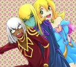 1boy 1girl alternate_color alternate_costume bare_shoulders blonde_hair blush_stickers bm_(natakus) breasts choker commentary_request dark_magician dark_magician_girl dark_skin dark_skinned_male duel_monster gold_trim green_eyes large_breasts long_hair looking_at_another multiple_boys yu-gi-oh! yuu-gi-ou yuu-gi-ou_duel_monsters