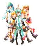 2boys 3girls :d ^_^ age_difference bare_arms bare_shoulders belt blonde_hair blue_hair blue_neckwear blue_scarf boots brown_hair brown_pants closed_eyes closed_eyes coat detached_sleeves eyebrows_visible_through_hair full_body hair_ribbon hands_clasped hands_together happy hatsune_miku headset height_difference hug hug_from_behind interlocked_fingers kagamine_len kagamine_rin kaito meiko miyuki_(aoisan) multiple_boys multiple_girls necktie open_mouth orange_neckwear own_hands_together pants red_footwear red_skirt red_tank_top ribbon scarf shirt short_hair shorts simple_background skirt sleeveless sleeveless_shirt smile tank_top teeth thigh-highs thigh_boots thighs traditional_media twintails vocaloid watercolor_(medium) white_background white_coat white_ribbon white_shirt