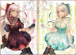 2girls :d :o ahoge black_choker black_dress black_legwear blonde_hair blue_dress blue_ribbon breasts champagne_flute choker commentary_request cup dress drinking_glass dual_persona fate/grand_order fate_(series) glint gloves grey_eyes hair_ornament hair_ribbon holding holding_drinking_glass jewelry large_breasts long_hair looking_at_viewer multiple_girls necklace okita_souji_(alter)_(fate) okita_souji_(fate) okita_souji_(fate)_(all) open_mouth over-kneehighs parted_lips puffy_short_sleeves puffy_sleeves purple_choker red_ribbon ribbon round_teeth short_hair short_sleeves shutsuri sitting smile tassel teeth thigh-highs white_gloves