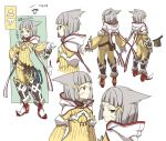 1girl animal_ears ass bangs blunt_bangs bodysuit cat_ears character_name decopon facial_mark forehead_mark full_body gloves grin hair_ribbon hand_on_hip hood hood_down long_sleeves multiple_views niyah ribbed_bodysuit ribbon silver_hair smile solo standing translation_request white_gloves xenoblade_(series) xenoblade_2 yellow_bodysuit yellow_eyes yellow_ribbon