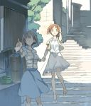 2girls bangs blue_skirt building casual commentary_request cosmic_(crownclowncosmic) day faceless faceless_female girls_und_panzer grey_shirt hand_holding hand_on_head high_heels holding jacket long_sleeves looking_at_viewer medium_skirt multiple_girls nishizumi_maho nishizumi_miho open_mouth outdoors pointing shadow shirt short_hair siblings sisters skirt stairs standing striped striped_shirt tree white_footwear white_shirt white_skirt wristband yellow_jacket