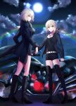 2girls ahoge artoria_pendragon_(all) belt black_dress black_footwear black_jacket black_ribbon black_shirt black_shorts blonde_hair boots breasts cleavage clouds collarbone dress eiffel_tower eyebrows_visible_through_hair fate/grand_order fate_(series) floating_hair full_body full_moon fur_trim ground_vehicle hair_ribbon high_heel_boots high_heels hood hooded_jacket jacket jeanne_d'arc_(alter)_(fate) jeanne_d'arc_(fate)_(all) jewelry knee_boots long_hair medium_breasts meet moon motor_vehicle motorcycle multiple_girls necklace night open_clothes open_jacket outdoors ponytail rainbow ribbon saber_alter shirt short_dress short_hair short_shorts shorts standing thigh-highs thigh_boots