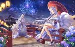 1boy 1girl achyue animal_ears arm_tattoo bare_shoulders bridge chinese_commentary comb commentary_request copyright_request fireworks flower fox_ears fox_tail hair_ornament highres kitsune lantern legs_crossed long_hair looking_at_viewer mole mole_under_eye multiple_tails night obi off_shoulder on_railing oriental_umbrella partial_commentary platform_footwear railing red_eyes sash silver_hair tail tattoo umbrella very_long_hair wide_sleeves