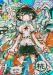 1girl abstract bangs black_hair black_ribbon black_skirt clouds collared_shirt colorful dog food fruit hat hito_(nito563) holding holding_leaf holding_leash inubashiri_momiji inubashiri_momiji_(wolf) leaf leash looking_at_viewer open_mouth puffy_short_sleeves puffy_sleeves red_eyes red_hat ribbon shameimaru_aya shirt short_hair short_sleeves skirt speech_bubble tokin_hat touhou translated watermelon white_shirt