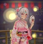 1girl absurdres altera_(fate) alternate_costume bangs dark_skin eyebrows_visible_through_hair fate/extella fate/extra fate/grand_order fate_(series) feet_out_of_frame firework_background food headdress highres hokori_sakuni holding holding_food holding_mirror japanese_clothes kimono looking_at_viewer night pink_kimono print_kimono red_eyes short_hair solo tagme tan white_hair