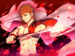 1boy abs absurdres brown_hair emiya_shirou eyebrows_visible_through_hair facial_mark fate/grand_order fate_(series) grey_cape hair_between_eyes highres holding holding_sword holding_weapon katana limited/zero_over male_focus petals solo spiky_hair sword upper_body waku_(ayamix) weapon yellow_eyes