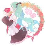 1girl balloon blue_hair box closed_eyes detached_sleeves expressionless eyebrows_visible_through_hair facing_away floating_hair flower frilled_shirt_collar frilled_skirt frills gomi_chiri hair_ribbon hatsune_miku heart-shaped_box leaf long_hair necktie orange_flower orange_rose pink_flower pink_neckwear pink_ribbon pink_rose plant profile red_flower red_rose ribbon rose shirt simple_background skirt sleeveless sleeveless_shirt solo_focus twintails two-tone_ribbon upper_body very_long_hair vocaloid white_background white_shirt