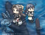 3girls :o ahoge black_hair blush bow brown_eyes brown_hair commentary_request dated detached_sleeves elbow_gloves forehead_protector gloves groceries hachimaki hair_bow hair_intakes hamu_koutarou headband jintsuu_(kantai_collection) kantai_collection long_hair multiple_girls neckerchief ocean open_mouth pleated_skirt remodel_(kantai_collection) school_uniform serafuku shinkaisei-kan skirt smile submarine_hime submerged torpedo ushio_(kantai_collection)