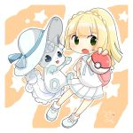 alolan_vulpix backpack bag blonde_hair chibi creatures_(company) game_freak gen_1_pokemon green_eyes hat highres honya64 lillie_(pokemon) nintendo pink_backpack poke_ball pokemon pokemon_(anime) pokemon_sm_(anime) skirt vulpix white_hat