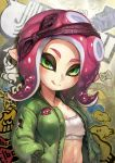 1girl :q bandanna bra breasts commentary_request green_eyes green_jacket hands_in_pockets highres jacket kousaku looking_at_viewer medium_breasts navel octoling open_clothes open_jacket outie_navel pink_hair pointy_ears short_hair smile solo splatoon splatoon_2 sports_bra suction_cups tentacle tongue tongue_out underwear upper_body white_bra