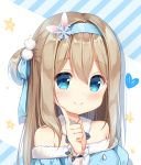 1girl bangs blue_dress blue_eyes blue_hairband blue_ribbon blush closed_mouth commentary_request dress eyebrows_visible_through_hair fur-trimmed_dress fur_trim girls_frontline hair_between_eyes hair_ornament hair_ribbon hairband hand_up heart ikataruto index_finger_raised light_brown_hair long_hair long_sleeves off-shoulder_dress off_shoulder one_side_up ribbon see-through see-through_sleeves smile snowflake_hair_ornament solo star suomi_kp31_(girls_frontline)