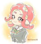 1girl blazer blush bow breasts commentary eromame grey_eyes jacket looking_at_viewer octarian octoling pointy_ears redhead school_uniform serafuku smile solo splatoon splatoon_2 splatoon_2:_octo_expansion tentacle_hair