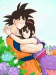 1boy 1girl ;) bare_arms bare_shoulders black_eyes black_hair blue_background blue_flower blush bracelet bubble chi-chi_(dragon_ball) chinese_clothes couple cowboy_shot dougi dragon_ball dragonball_z earrings eyelashes fingernails flower hands_on_another's_hips happy height_difference hetero hug interlocked_fingers jewelry leaf looking_at_another looking_down looking_up masa_(p-piyo) one_eye_closed plant profile purple_flower short_hair simple_background sleeveless smile son_gokuu spiky_hair tied_hair upper_body white_background wristband