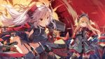 2girls action admiral_hipper_(azur_lane) ahoge antenna_hair armband azur_lane bangs blonde_hair blush breasts brown_eyes cannon choker closed_mouth collarbone commentary_request day double-breasted explosion eyebrows_visible_through_hair finger_to_mouth floating_hair garter_straps gloves green_eyes hair_between_eyes hat headgear holding holding_scepter holding_weapon iron_cross jacket large_breasts leaning_forward long_hair looking_away machinery mole mole_on_breast multicolored_hair multiple_girls norwegian_flag nyanya official_art open_mouth outdoors prinz_eugen_(azur_lane) redhead ribbon rigging side_cutout sidelocks silver_hair smile streaked_hair thigh-highs turret two_side_up very_long_hair water weapon wind wind_lift
