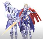 absurdres armor artoria_pendragon_(all) artoria_pendragon_(lancer) blonde_hair blue_eyes blue_legwear breasts cape cleavage crown dun_stallion fate/grand_order fate_(series) highres large_breasts mechanical_horse mechanization polearm rhongomyniad sohn_woohyoung spear thigh-highs weapon