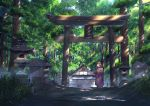 1girl blue_eyes brown_hair closed_mouth day highres niko_p original outdoors scenery smile solo standing torii translation_request tree