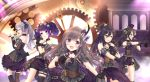 5girls :d :o bangs bare_shoulders belt black_gloves black_hair blue_eyes blush bow breasts brown_hair cape choker cleavage closed_eyes collarbone commentary_request corset criss-cross_halter detached_sleeves diagonal_bangs elbow_gloves eyebrows_visible_through_hair finger_gun flower frills garter_straps gears gloves goggles goggles_on_head hair_between_eyes hair_ornament hair_ribbon halterneck hat high_ponytail highres holding holding_microphone idol idolmaster idolmaster_shiny_colors long_hair looking_at_viewer microphone mini_hat mini_top_hat mismatched_legwear mitsumine_yuika monocle multiple_girls music open_mouth outstretched_arm pink_eyes pinstripe_legwear pleated_skirt pocket_watch ponytail purple_bow purple_hair purple_skirt ribbon rocky0206 rose shirase_sakuya short_twintails shorts silver_hair singing skirt smile striped striped_shorts tanaka_mamimi top_hat tsukioka_kogane twintails violet_eyes watch yellow_eyes yuukoku_kiriko