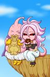 1girl android_21 bare_shoulders black_footwear black_sclera black_sleeves black_tubetop boots bracelet character_name chibi cliff cookie dabura detached_sleeves doughnut dragon_ball dragon_ball_fighterz earrings eating food full_body hair_between_eyes harem_pants heart high_heels hoop_earrings jewelry koyukiyasu long_hair majin_android_21 majin_buu midriff navel pants pillarboxed pink_skin pointy_ears purple_hair red_eyes sitting solo strapless tail tongue tongue_out tubetop white_pants yellow_footwear