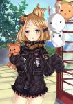 1girl abigail_williams_(fate/grand_order) balloon bangs black_bow black_jacket blonde_hair blue_eyes blue_sky blush bow clouds commentary_request day fate/grand_order fate_(series) hair_bow hair_bun hands_up head_tilt horizon jacket long_hair long_sleeves looking_at_viewer medjed object_hug ocean orange_bow outdoors parted_bangs parted_lips phone_booth polka_dot polka_dot_bow sky sleeves_past_fingers sleeves_past_wrists solo standing star stuffed_animal stuffed_toy teddy_bear tree water wu_ji_miao