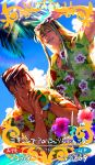 2boys adjusting_eyewear ahoge ball beachball black_hair blonde_hair card_(medium) card_parody craft_essence daimon560 eyewear_on_head fate/grand_order fate_(series) fionn_mac_cumhaill_(fate/grand_order) floral_print flower hawaiian_shirt hibiscus leonidas_(fate/grand_order) looking_at_viewer male_focus multiple_boys shirt smile sunglasses wading