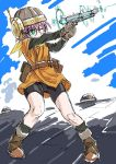 1girl aircraft airship bike_shorts breasts chrono_trigger clouds commentary_request firing glasses gun helmet lucca_ashtear purple_hair s-a-murai scarf short_hair shorts shorts_under_skirt solo turret weapon