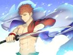 1boy abs brown_hair emiya_shirou eyebrows_visible_through_hair fate/grand_order fate_(series) grey_cape hair_between_eyes holding holding_sword holding_weapon katana limited/zero_over male_focus solo spiky_hair sword upper_body waku_(ayamix) weapon yellow_eyes