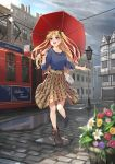 1girl :d bag blonde_hair blue_shirt boots bow brown_footwear brown_skirt character_name clouds cloudy_sky collarbone day earrings ereshkigal_(fate/grand_order) eyebrows_visible_through_hair fate/grand_order fate_(series) flower hair_bow handbag highres holding holding_umbrella jewelry leg_up long_hair looking_up nakaga_eri open_mouth outdoors pleated_skirt red_eyes red_umbrella road shirt skirt sky smile solo sparkle standing standing_on_one_leg street tohsaka_rin twintails umbrella very_long_hair