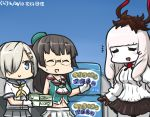 +++ 3girls =_= black_hair blouse blue_eyes choukai_(kantai_collection) closed_eyes commentary_request dated glasses gloves hair_ornament hair_over_one_eye hairclip hamakaze_(kantai_collection) hamu_koutarou horns kantai_collection long_hair lycoris_hime midriff multiple_girls pleated_skirt red_gloves rimless_eyewear school_uniform serafuku shinkaisei-kan shirt silver_hair skirt sleeveless sleeveless_shirt sweat white_blouse white_gloves white_hair