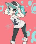 aqua_hair blush breasts cephalopod_eyes covered_nipples domino_mask grey_eyes hat makeup mascara mask nama_namusan octarian octoling pantyhose pointy_ears shoes singlet small_breasts sneakers splatoon splatoon_2 splatoon_2:_octo_expansion suction_cups tentacle_hair