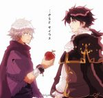 2boys apple bracelet brown_hair cyrus_(octopath_traveler) food fruit gloves highres jewelry kiriya_(552260) long_hair male_focus multiple_boys octopath_traveler ponytail short_hair simple_background smile therion_(octopath_traveler) translation_request white_hair