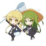 2girls :d bangs black_legwear black_sailor_collar black_serafuku black_shirt black_skirt blonde_hair blush brown_footwear butterfly_net chibi commentary_request crescent crescent_hair_ornament crescent_moon_pin eyebrows_visible_through_hair flying_sweatdrops green_eyes green_hair hair_between_eyes hair_ornament hand_holding hand_net hat highres holding ichi insect_cage kantai_collection long_hair long_sleeves low_twintails multiple_girls nagatsuki_(kantai_collection) necktie open_mouth pantyhose sailor_collar satsuki_(kantai_collection) school_uniform serafuku shirt sidelocks skirt smile straw_hat twintails very_long_hair walking white_neckwear yellow_eyes