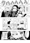 4girls :d :o abigail_williams_(fate/grand_order) ahoge arm_up bandage bandaged_arm bandages bangs beret blush bow capelet cloak closed_eyes comic commentary_request crossed_bandaids doll_joints dress eighth_note elbow_gloves evil_smile eyebrows_visible_through_hair fate/extra fate/grand_order fate_(series) fingernails flying_sweatdrops frills fur-trimmed_capelet fur_trim gloves gothic_lolita greyscale hair_between_eyes hair_bow hair_bun hand_on_own_forehead hat headpiece highres index_finger_raised jack_the_ripper_(fate/apocrypha) jeanne_d'arc_(fate)_(all) jeanne_d'arc_alter_santa_lily lolita_fashion long_hair long_sleeves momosuke_(toouka) monochrome multiple_girls musical_note nursery_rhyme_(fate/extra) open_mouth parted_lips puffy_short_sleeves puffy_sleeves scar scar_across_eye shaded_face short_hair short_sleeves smile solid_oval_eyes sparkle spoken_musical_note striped striped_bow translation_request very_long_hair