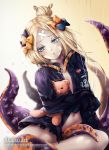 1girl :o abigail_williams_(fate/grand_order) akais bandaid_on_forehead bangs belt black_bow blonde_hair blue_eyes blush bow fate/grand_order fate_(series) hair_bow hair_bun heroic_spirit_traveling_outfit highres holding holding_stuffed_animal long_hair looking_at_viewer navel orange_bow parted_bangs pocket polka_dot polka_dot_bow simple_background solo stuffed_animal stuffed_toy teddy_bear tentacle watermark web_address white_string