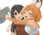 2girls ;d absurdres ahoge animal_ears animal_print armpit_peek backpack bag bare_shoulders black_eyes black_gloves black_hair blush bow bowtie cheek-to-cheek clenched_hand closed_eyes crying dirty_face elbow_gloves extra_ears eyebrows_visible_through_hair eyelashes facing_another gloves hair_between_eyes happy happy_tears hat hat_feather hat_removed headwear_removed helmet high-waist_skirt highres holding holding_hat hug kaban_(kemono_friends) kemono_friends looking_at_another looking_to_the_side multiple_girls one_eye_closed open_mouth orange_hair pith_helmet print_bow print_gloves print_neckwear red_shirt runny_nose seramikku serval_(kemono_friends) serval_ears serval_print shirt short_hair short_sleeves simple_background skirt sleeveless sleeveless_shirt smile tareme tears teeth tongue upper_body white_background white_shirt  3
