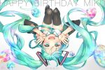 1girl 2016 :d blue_eyes blue_hair blue_neckwear blurry breasts character_name dated depth_of_field detached_sleeves eyebrows_visible_through_hair eyelashes fingernails floating_hair gem gradient gradient_background grey_background hands_on_own_face happy happy_birthday hatsune_miku long_hair looking_at_viewer necktie open_mouth sakikko simple_background smile solo thigh-highs thighs twintails upside-down very_long_hair vocaloid white_background