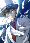 1boy blue_eyes blue_shirt brown_hair cape dreaming182 formal hat highres jacket kaitou_kid looking_at_viewer magic_kaito monocle necktie outstretched_arm red_neckwear shirt smile solo upper_body white_cape white_feathers white_hat white_jacket