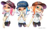 bike_shorts blue_hair cephalopod_eyes commentary domino_mask fangs green_eyes grey_eyes hat highres makeup mascara mask octarian octoling orange_hair pink_hair pointy_ears puchiman shirt single_vertical_stripe splatoon splatoon_2 splatoon_2:_octo_expansion suction_cups t-shirt tentacle_hair
