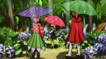 3girls alternate_footwear artist_request black_dress black_footwear blonde_hair blush boots bow brown_hair dress flower forest from_behind green_skirt highres hydrangea looking_back motoori_kosuzu multiple_girls nature original rain red_eyes rubber_boots rumia shoe_bow shoes skirt sword touhou umbrella weapon white_footwear white_sleeves yellow_footwear