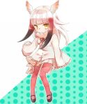 1girl bangs bird_tail bird_wings black_hair blush commentary_request eyebrows_visible_through_hair frilled_sleeves frills fur_collar head_wings hiyotooshi japanese_crested_ibis_(kemono_friends) kemono_friends long_sleeves multicolored_hair neck_ribbon oversized_clothes pantyhose pleated_skirt red_legwear redhead ribbon short_hair sidelocks skirt solo white_hair wings yellow_eyes