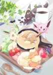 animal coffee_mug commentary_request cup eevee espeon flareon food fruit gen_1_pokemon gen_2_pokemon gen_4_pokemon highres leafeon mug outdoors pokemon skillet sleeping spoon strawberry umbreon yutopia_(neveyk)