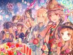 3boys 5girls :d ahoge bangs beer_mug black_hair blonde_hair blue_kimono bow brown_eyes brown_hair character_request dark_skin eyebrows_visible_through_hair fate/grand_order fate_(series) fireworks floating_hair floral_print flower food gun hair_bow hair_over_one_eye hat highres holding holding_gun holding_weapon ice_cream japanese_clothes kimono lantern long_hair looking_at_viewer multiple_boys multiple_girls musket night night_sky obi oda_nobunaga_(fate) okada_izou_(fate) okita_souji_(alter)_(fate) okita_souji_(fate) okita_souji_(fate)_(all) one_eye_covered open_mouth oryou_(fate) over_shoulder paper_lantern parted_bangs peaked_cap red_eyes red_flower red_scarf rioka_(southern_blue_sky) sakamoto_ryouma_(fate) sash scarf sitting sky smile summer_festival table tassel weapon weapon_over_shoulder white_hat wind_chime wristband yellow_eyes yellow_flower yellow_scarf