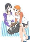 2girls :/ arm_support bangs barefoot black_eyes black_hair book brown_eyes casual closed_mouth collarbone futo_(hbnn328) holding holding_book kneeling knees legs_crossed long_sleeves looking_at_another medium_hair multiple_girls nami_(one_piece) nico_robin one_piece open_book orange_hair reading shirt short sitting slippers smile swept_bangs toes