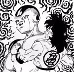 2boys clenched_hands clenched_teeth commentary_request dougi dragon_ball dragonball_z facial_scar frieza hatching_(texture) highres ink_(medium) lee_(dragon_garou) long_hair male_focus monochrome multiple_boys muscle scar scar_on_cheek smile smug sweat teeth traditional_media wristband yamcha