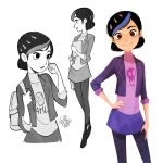 1girl 2017 backpack bag black_hair blue_hair book claire_nunez gurihiru hair_ornament hairclip hand_on_hip highres jacket lipstick makeup miniskirt multicolored_hair pantyhose profile signature skirt skull smile solo trollhunters:_tales_of_arcadia two-tone_hair