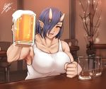 1girl airisubaka alcohol artist_name beer blue_hair breasts earrings elf-san_wa_yaserarenai. hair_over_one_eye jewelry large_breasts looking_at_viewer muscle muscular_female oga-san oni oni_horns open_mouth pointy_ears short_hair signature smile solo yellow_eyes