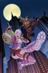 1boy 1girl artist_name bag batroc_the_leaper belt black_footwear black_gloves building cover cover_page dollar_sign domino_mask facial_hair foreshortening full_moon georges_batroc gloves goatee gun gurihiru gwen_poole gwenpool handgun highres holster katana knee_pads leotard marvel mask moon mustache night night_sky official_art open_mouth pistol pouch scarf shin_guards signature sky skyscraper smile star_(sky) starry_sky stuffed_animal stuffed_shark stuffed_toy superhero sword weapon yellow_scarf
