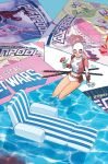 1girl artist_name barrel cocktail cocktail_glass cocktail_umbrella cover cover_page cup dinosaur drink drinking_glass ground_vehicle gurihiru gwen_poole gwenpool heart highres katana lips manga_(object) marvel mask miles_morales motor_vehicle octopus official_art partially_submerged pouch rocket signature sitting smile solo spider-man_(miles_morales) spider-man_(series) superhero sword truck umbrella weapon