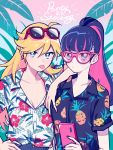 2girls :p alternate_hairstyle blonde_hair breasts cellphone cleavage collarbone commentary_request hawaiian_shirt highres kisaragi_yuu_(fallen_sky) multicolored_hair multiple_girls nail_polish panty_&_stocking_with_garterbelt panty_(psg) phone ponytail shirt stocking_(psg) sunglasses tongue tongue_out two-tone_hair